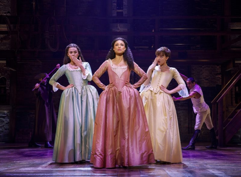 Angelica, Eliza, and Peggy Schuyler hit the town looking for a mind at work.